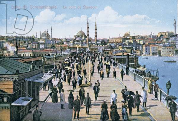 Postcard depicting a view of the Stamboul Bridge across the Golden Horn in Constantinople, early 20th century (colour litho)