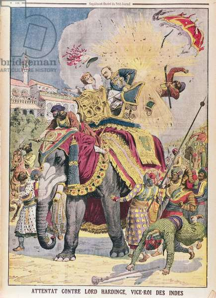 An assassination attempt on Lord Charles Hardinge (1858-1944) Viceroy of India, 1912, illustration from 'Le Petit Journal', 12th January 1913 (colour litho)