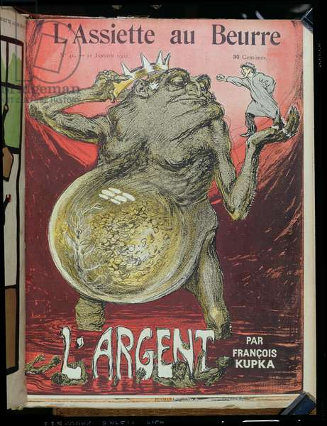Front cover of the 'L'Argent' issue, from 'L'Assiette au Beurre', 11th January 1902 (colour litho)
