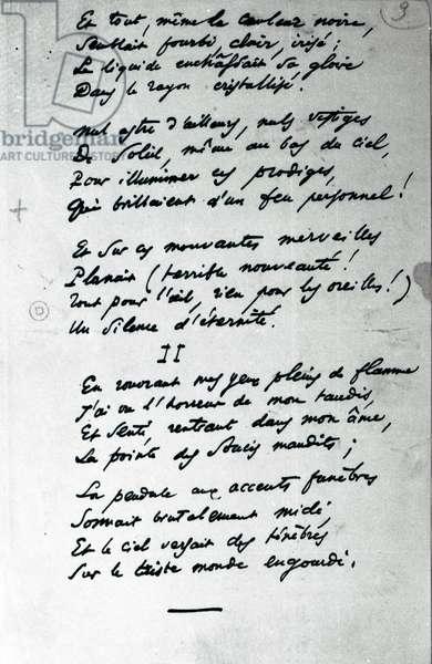 'Reve Parisien' autograph poem (pen and ink on paper) (b/w photo)