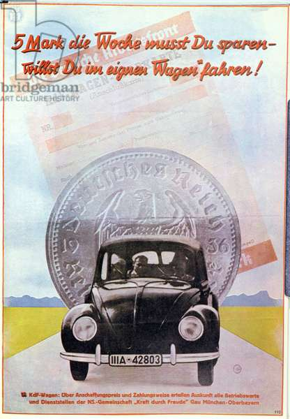 Poster advertising the KDF-Wagen (Volkswagen), 1939 (colour litho)