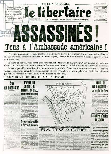 The Sacco Vanzetti Case, from 'Le Libertaire', 23rd August 1927 (litho) (b/w photo)