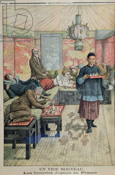 'The New Vice', opium dens in France, illustration from 'Le Petit Journal', 5th July 1903 (colour litho)