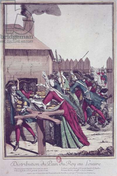 Distribution of the 'Pain du Roi' (King's Bread) at the Louvre during a time of famine (colour engraving)