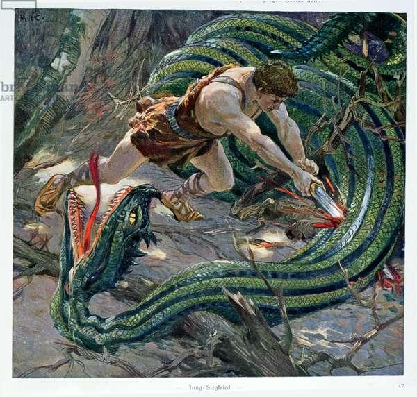 Siegfried killing Fafner, illustration from 'Puissances Secretes', c.1935 (colour litho)