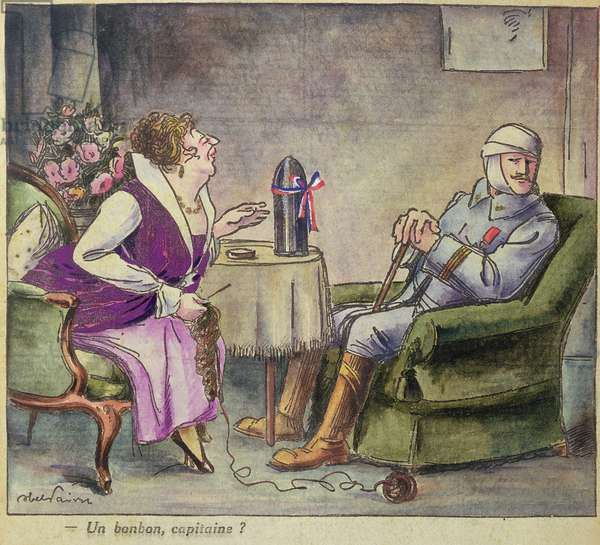 'A Sweet, Captain?', First World War caricature (colour litho)