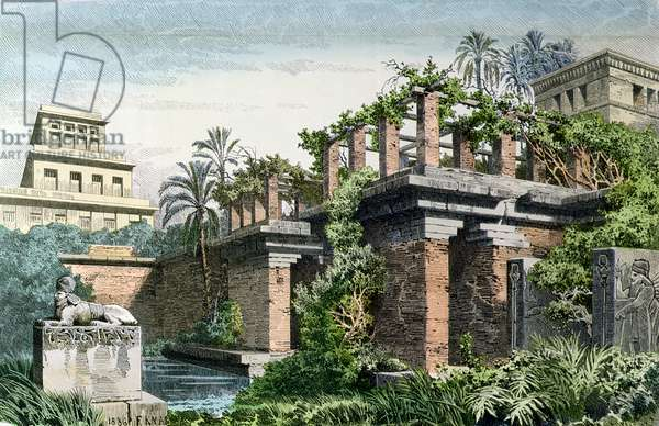 The Hanging Gardens of Babylon, from a series of the 'Seven Wonders of the World' published in 'Munchener Bilderbogen', 1886 (colour litho)