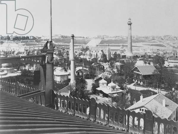The hill of Chaillot, view from the roof of the Galerie Circulaire at the Exposition Universelle of 1867 (b/w photo)