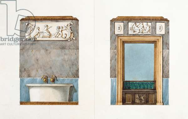 The bathroom at rue Fortunee, house bought by Balzac in 1847, 1851 (w/c on paper)