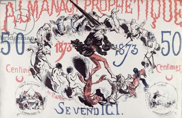 Cover of a prophetic Almanac depicting Nostradamus, 1873 (colour litho)