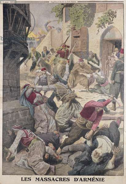 Massacre of the Armenians by the Turks, from 'Le Petit Journal', 12th December 1915 (colour litho)