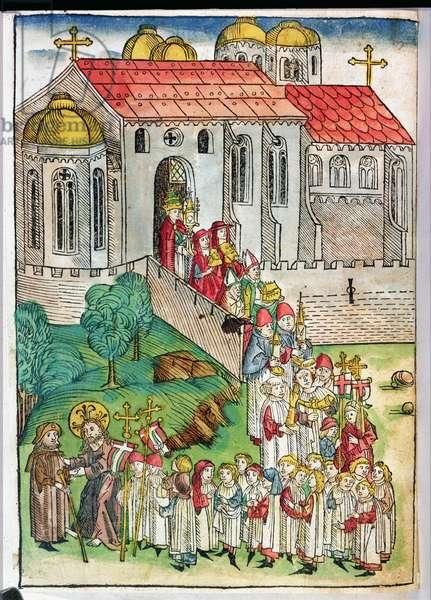 Pilgrim of Santiago de Compostela and procession, 1491 (colour woodcut)
