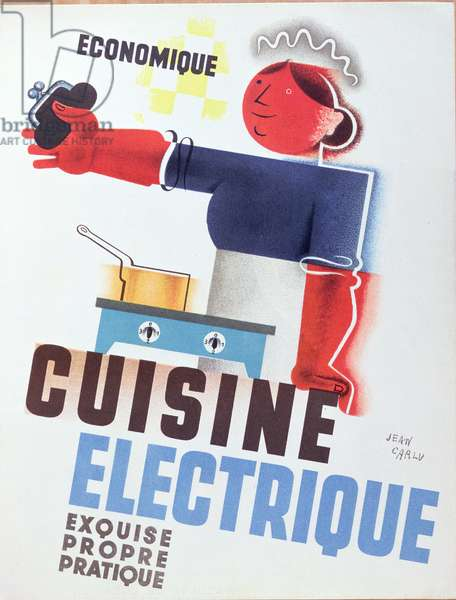 Poster advertising the benefits of electric cooking, c.1937 (colour litho)