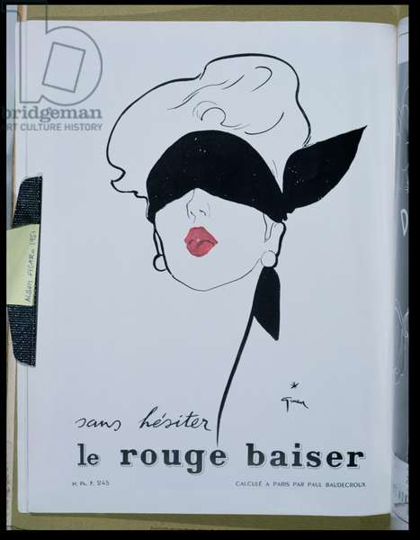 Advertisement for 'Le rouge baiser' lipstick, from 'Album Figaro', 1951 (colour litho)