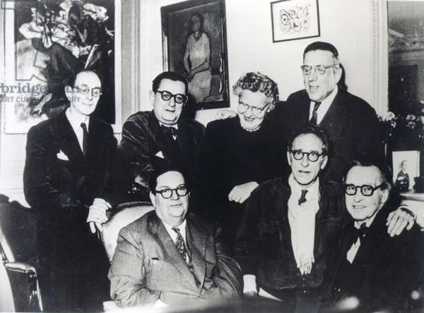 Group portrait of 'Les Six' wearing spectacles, along with Jean Cocteau, c. 1950 (b/w photo)