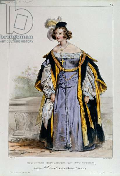 Marie Dorval in the role of Marion Delorme by Victor Hugo (colour litho)