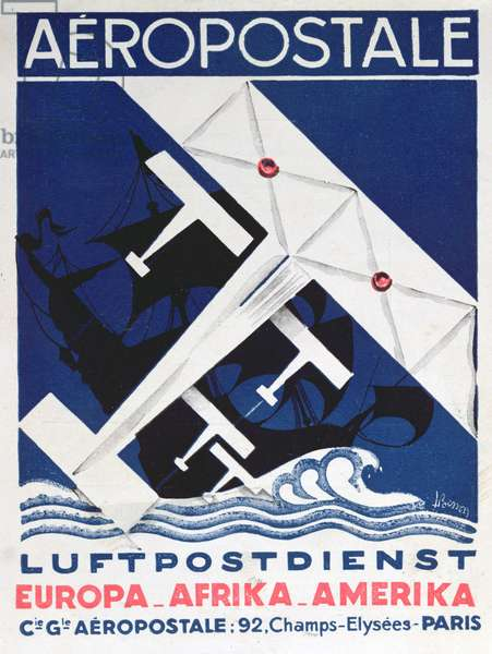 German poster advertising the French airmail service, 1928 (colour litho)