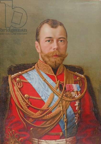 Portrait of Tsar Nicholas II (1868-1918), 1911 (colour litho)