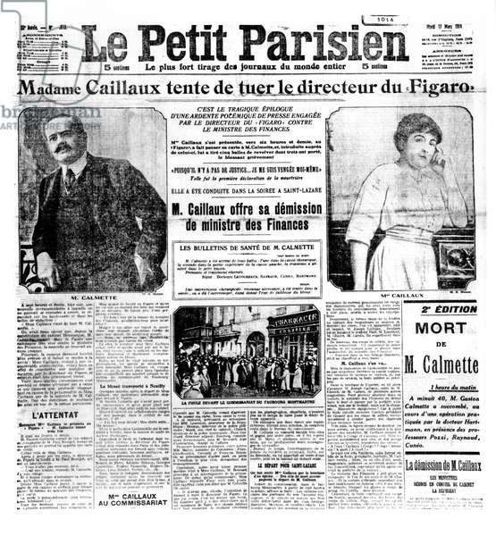 The Caillaux Affair : Mrs Joseph Caillaux tries to kill the Figaro Director, Gaston Calmette in 'Le Petit Parisien', 17th March 1914, (b/w photo)