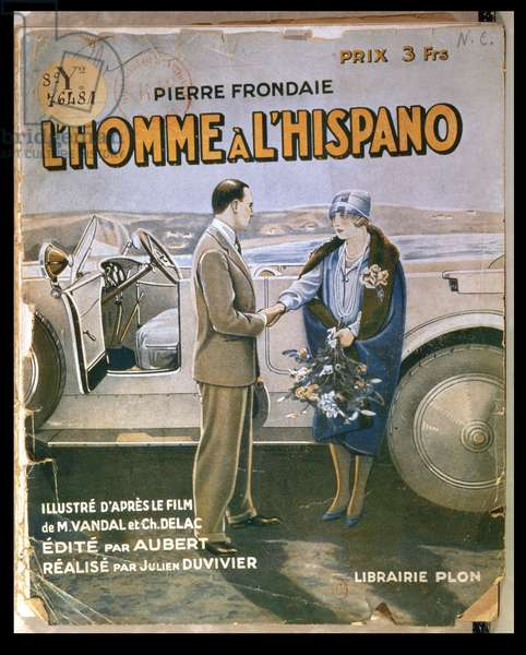 Front Cover of 'L'Homme a l'Hispano', by Pierre Frondaie (1884-1948) (colour litho)