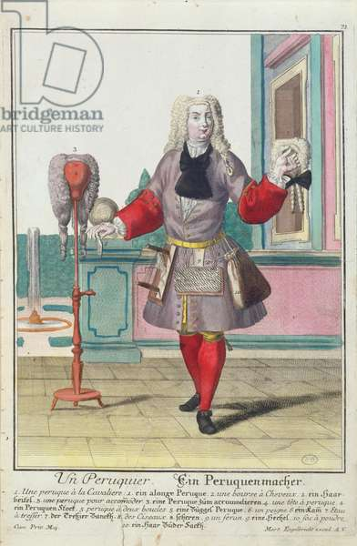 The Wigmaker, published in Augsburg, c.1735 (colour litho)