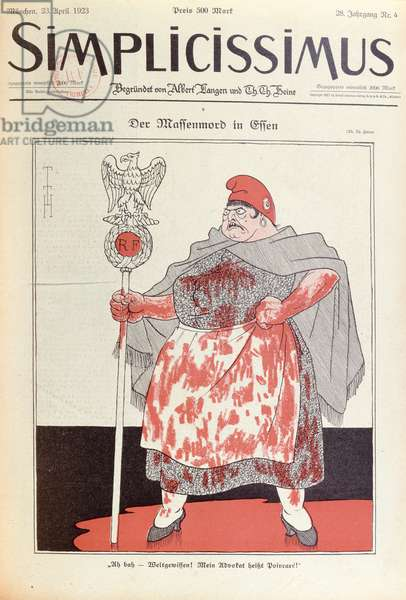 'Mass Murder in Essen', caricature of a bleeding Marianne, from 'Simplicissimus', 23rd April 1923 (colour litho)