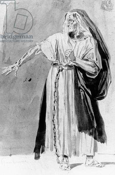 Costume design for 'Les Burgraves' by Victor Hugo (1802-85), c. 1843 (w/c)