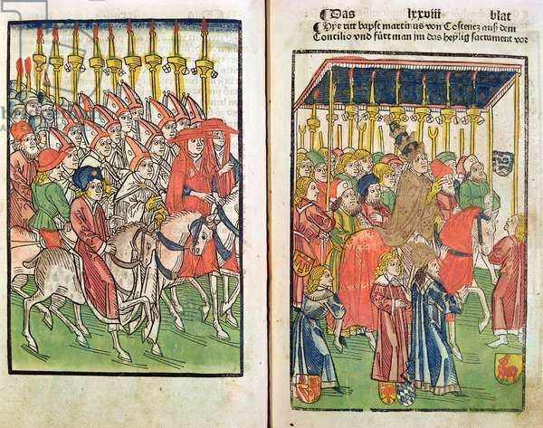 Arrival of the antipope John XXIII (c.1370-1419) at the Council of Constance in 1414, 1483 (coloured wood engraving)