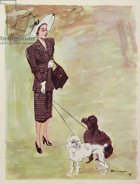 Princess Amédée de Broglie and her poodles, from 'Femina', April 1947 (colour litho)