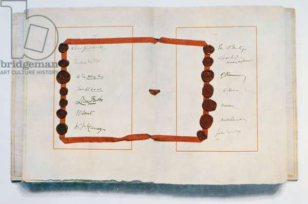Page of The Treaty of Versailles with signatories, 28th June 1919 (ink on paper)