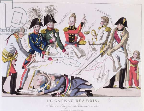 The Kings' Cake being Cut at the Congress of Vienna (November 1814-June 1815) (colour engraving)
