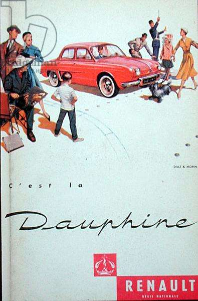 Advertisment for the Renault Dauphine (colour litho)