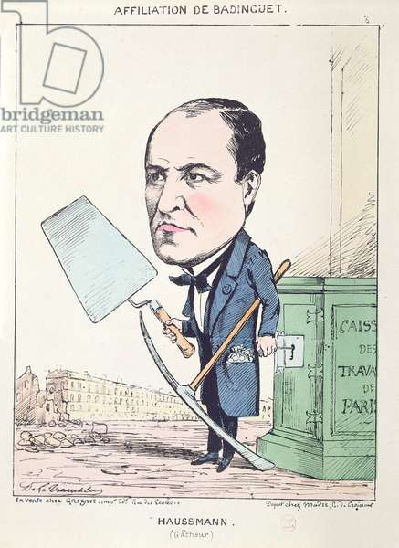 Caricature of Baron Georges Eugene Haussmann (1809-91) as a builder's mate, c.1870 (litho)