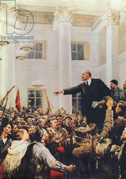 Vladimir Lenin (1870-1924) Speaking to a Crowd (colour litho)