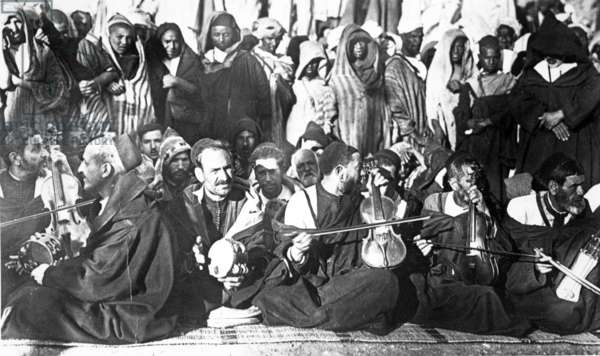 Jewish musicians in Morocco, c.1900 (photolitho)