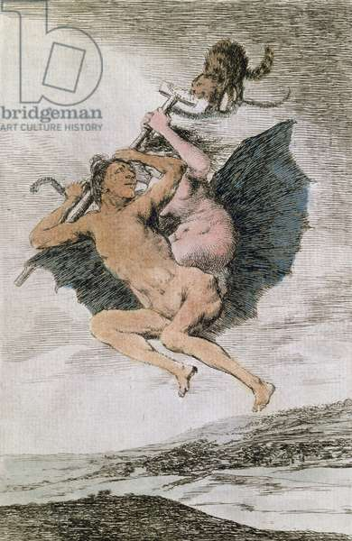 Alla va eso (There it goes), plate 66 of 'Los Caprichos', late 18th (colour engraving)