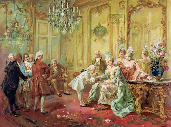 The presentation of the young Mozart to Mme de Pompadour at Versailles in 1763 (colour litho)