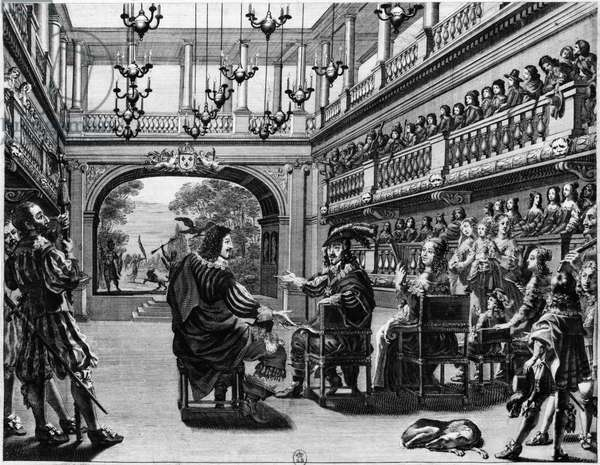 King Louis XIII (1601-43) and Queen Anne of Austria (1601-66) at the production of 'Mirame' in the Palais Cardinal, Paris, 1641 (engraving) (b/w photo)