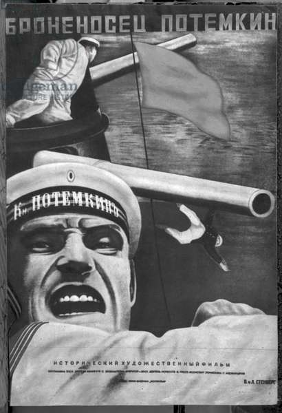 Poster for Sergey Eisenstein's film, 'Battleship Potemkin' (litho) (b/w photo)