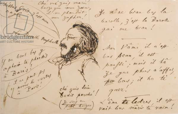 Alexandre Weill (1811-99) speaking 'nonsense' (pen & ink on tracing paper)