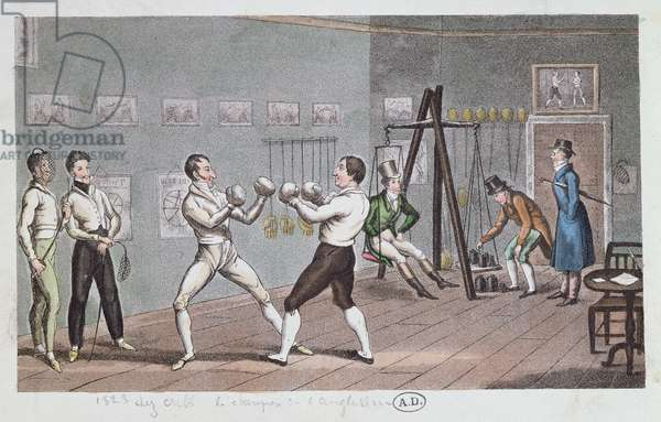 Boxing in England, 1823 (colour engraving)