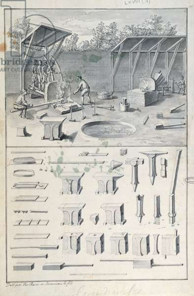 Iron forge, drawing for the 'Description des Arts et Métiers', by L. Simonneau, which inspired Diderot for the Encyclopédie (litho)