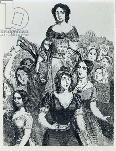 Women Carrying Jeanne Deroin (1805-94) in Triumph, from 'Les Femmes Celebres', volume I, Paris, Mazenod, 1848 (engraving) (b/w photo)