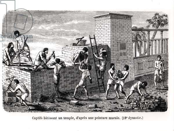 Slaves Building a Temple, after an 18th Dynasty Mural (engraving) (b/w photo)