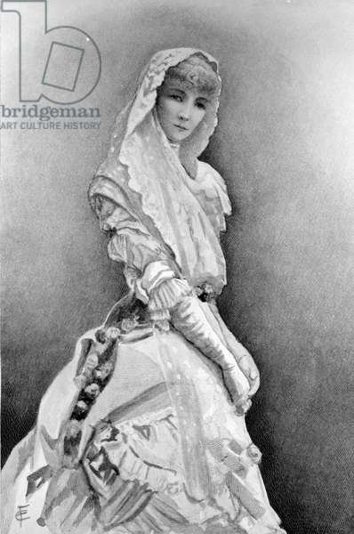 Sarah Bernhardt as Marguerite Gautier in 'La Dame aux Camelias' by Alexandre Dumas Fils in the first production in the United States, c. 1880 (litho)