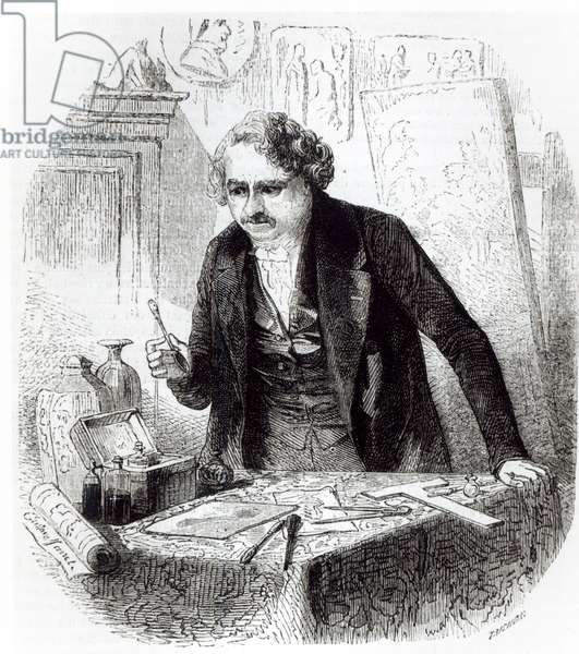Daguerre discovers the effect on a spoon left by accident on an iodized silver plate (engraving) (b/w photo)