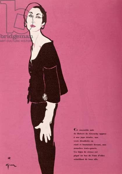 Design for a dress by Givenchy, from the spring collection, from 'L'Officiel de la Couture et de la Mode de Paris', March 1953 (colour litho)