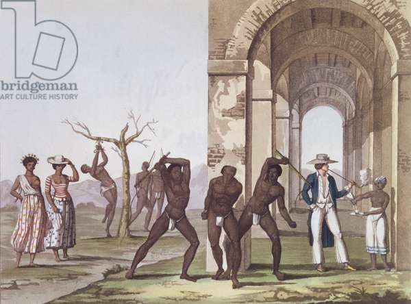 Plantation in Surinam, illustration from 'Le Costume Ancien et Moderne' by Jules Ferrario, c.1820 (coloured engraving)