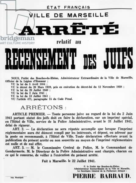 Decree concerning the Census of Jews in Marseille, 22 July, 1941 (printed paper)