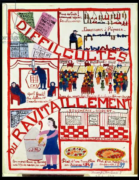 Difficulties of Rationing, 1941 (poster paint on paper)